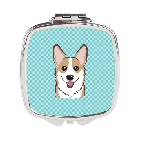 Checkerboard Blue Corgi Compact Mirror BB1191SCM by Caroline's Treasures