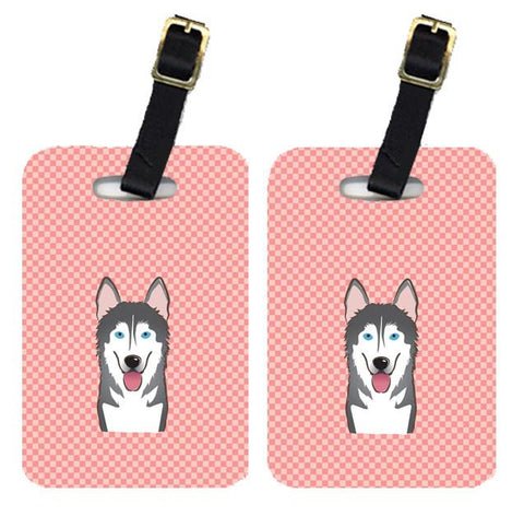 Buy this Pair of Checkerboard Pink Alaskan Malamute Luggage Tags BB1218BT