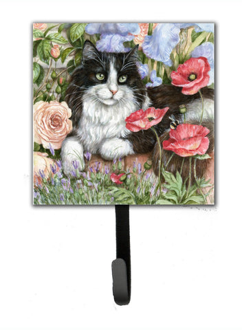 Buy this Black and White Cat in Poppies Leash or Key Holder CDCO0231SH4
