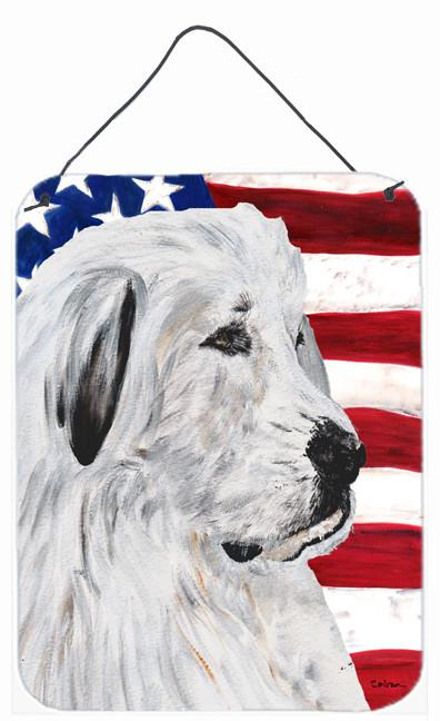 Great Pyrenees with American Flag USA Wall or Door Hanging Prints SC9642DS1216 by Caroline's Treasures