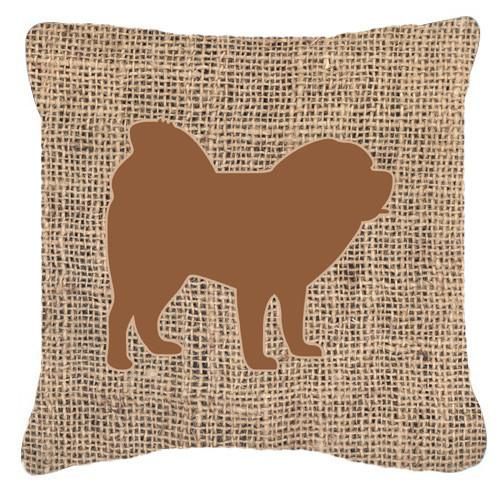 Chow Chow Burlap and Brown   Canvas Fabric Decorative Pillow BB1106 by Caroline's Treasures