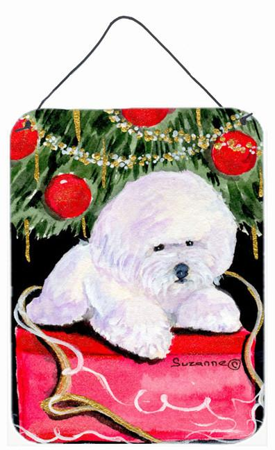 Christmas Tree with  Bichon Frise Aluminium Metal Wall or Door Hanging Prints by Caroline's Treasures