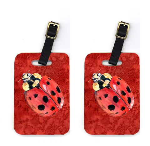 Buy this Pair of Lady Bug on Deep Red Luggage Tags