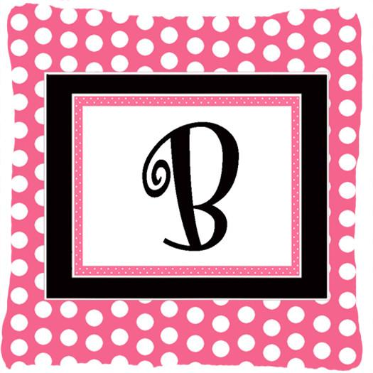 Monogram Initial B Pink Black Polka Dots Decorative Canvas