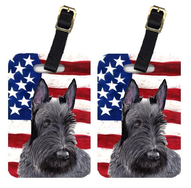 Pair of USA American Flag with Scottish Terrier Luggage Tags SC9032BT by Caroline's Treasures