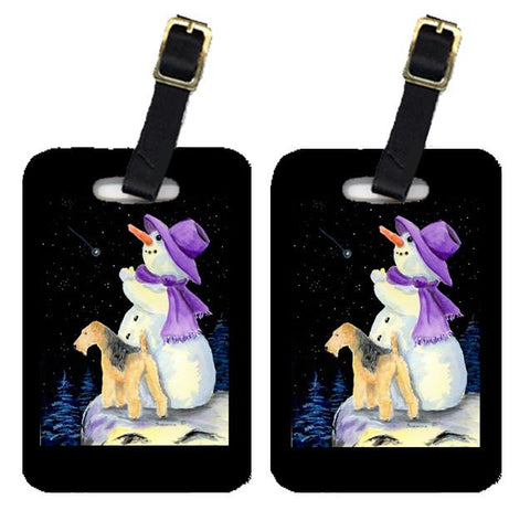 Buy this Snowman with Lakeland Terrier Luggage Tags Pair of 2