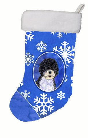 Buy this Portuguese Water Dog Winter Snowflakes Christmas Stocking SS4628