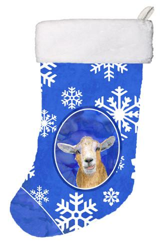 Buy this Goat Winter Snowflakes Holiday Christmas Stocking RDR3023-CS