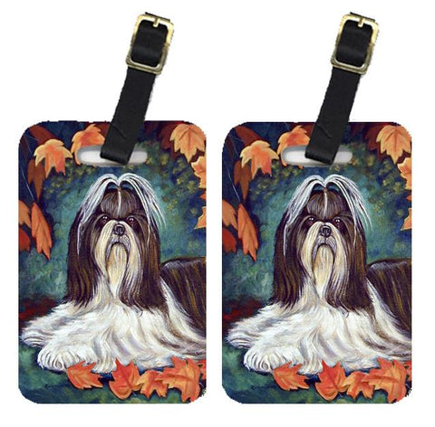 Buy this Autumn Leaves Shih Tzu Luggage Tags Pair of 2