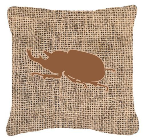 Beetle Burlap and Brown   Canvas Fabric Decorative Pillow BB1064 - the-store.com