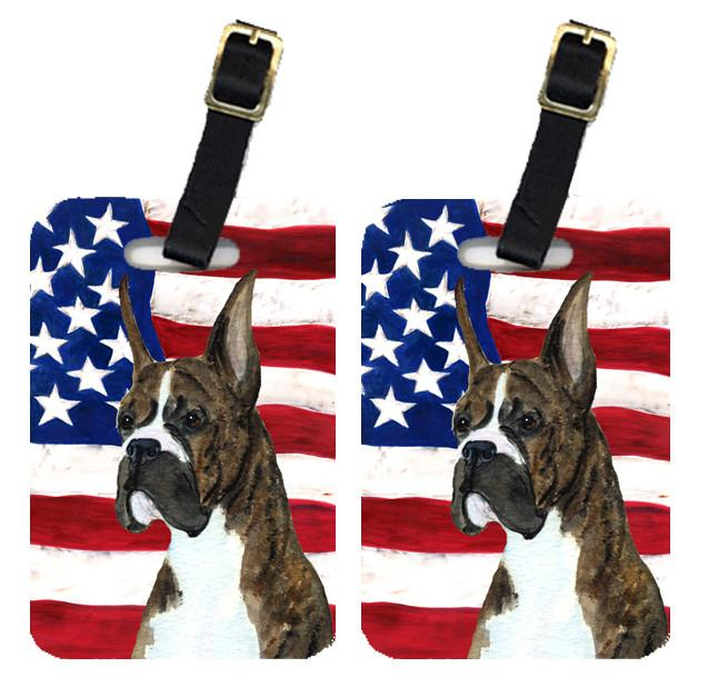 Buy this Pair of USA American Flag with Boxer Luggage Tags SS4035BT