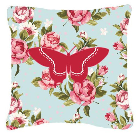 Buy this Butterfly Shabby Chic Blue Roses   Canvas Fabric Decorative Pillow BB1030