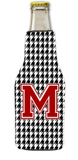 Houndstooth Black Letter M Monogram Initial Longneck Beer Beverage Insulator Zipper Hugger by Caroline's Treasures