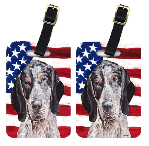 Buy this Pair of Blue Tick Coonhound with American Flag USA Luggage Tags SC9625BT