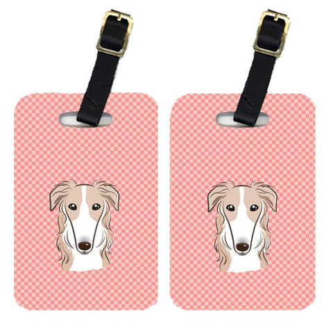 Buy this Pair of Checkerboard Pink Borzoi Luggage Tags BB1228BT