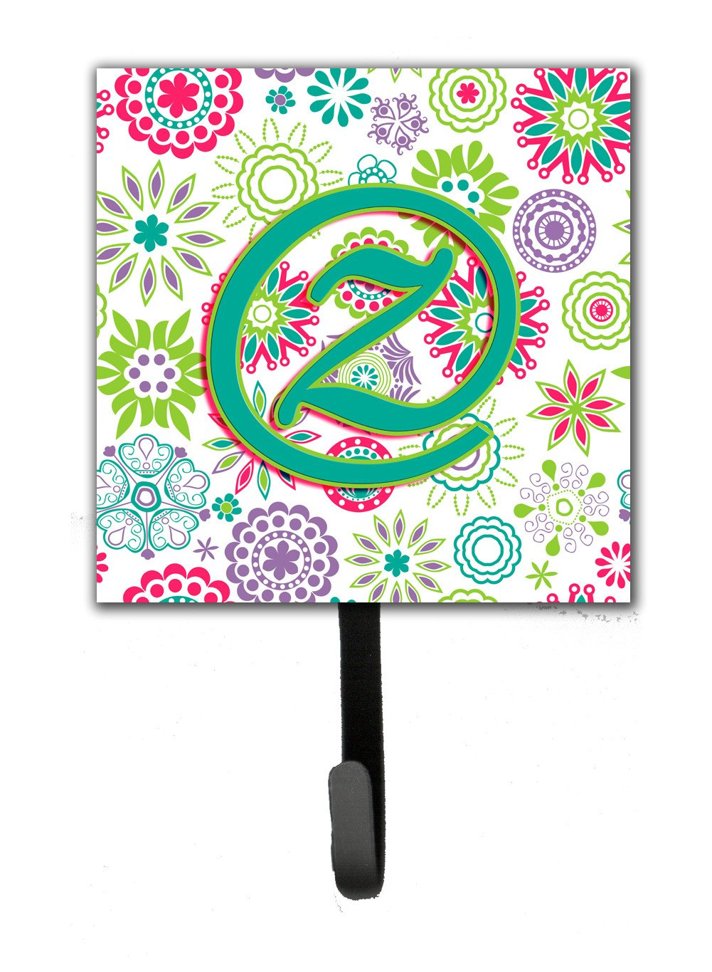 Letter Z Flowers Pink Teal Green Initial Leash or Key Holder CJ2011-ZSH4 by Caroline's Treasures