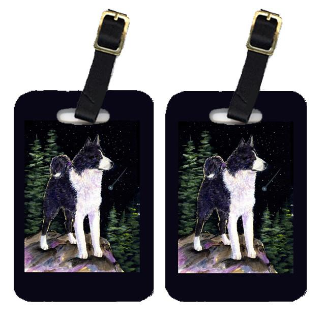 Buy this Starry Night Karelian Bear Dog Luggage Tags Pair of 2