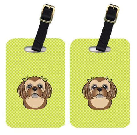 Buy this Pair of Checkerboard Lime Green Chocolate Brown Shih Tzu Luggage Tags BB1311BT