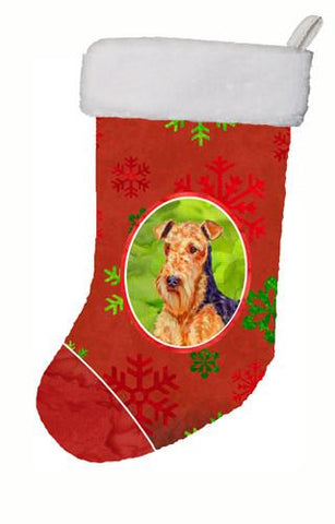 Buy this Airedale Red and Green Snowflakes Holiday Christmas Christmas Stocking LH9336