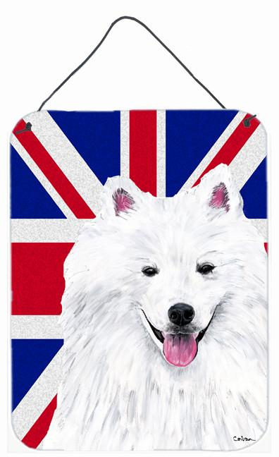 American Eskimo with English Union Jack British Flag Wall or Door Hanging Prints SC9836DS1216 by Caroline's Treasures