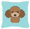 Checkerboard Blue Chocolate Brown Poodle Canvas Fabric Decorative Pillow BB1194PW1414 by Caroline's Treasures