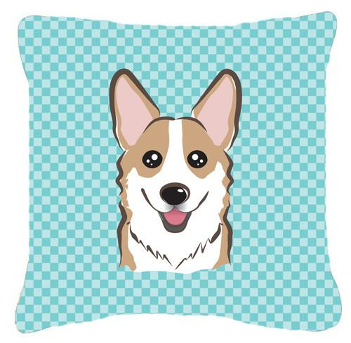 Checkerboard Blue Corgi Canvas Fabric Decorative Pillow BB1191PW1414 - the-store.com