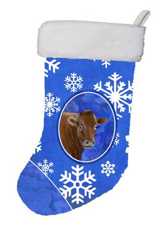Buy this Cow Winter Snowflakes Holiday Christmas Stocking SB3148-CS