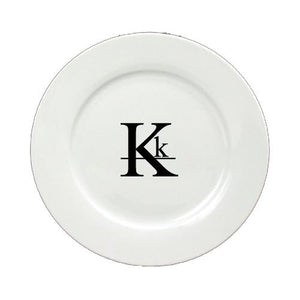 Buy this Letter K Initial Monogram Modern Round Ceramic White Salad Plate CJ1056-K-DPW