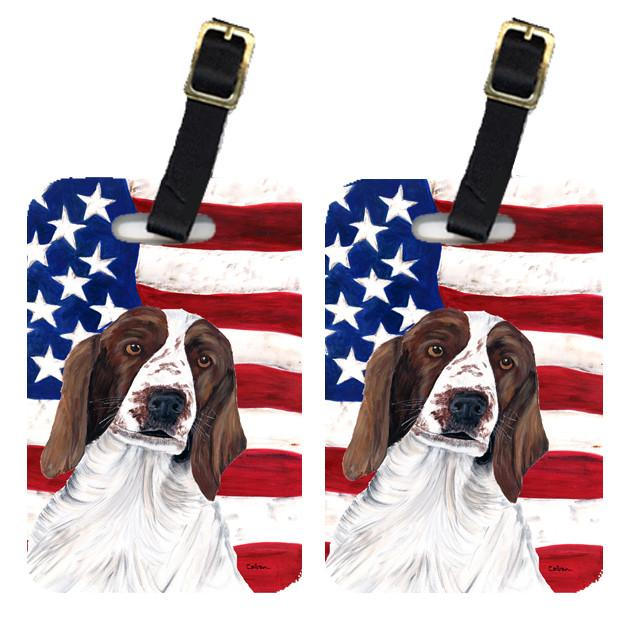 Buy this Pair of USA American Flag with Welsh Springer Spaniel Luggage Tags SC9024BT