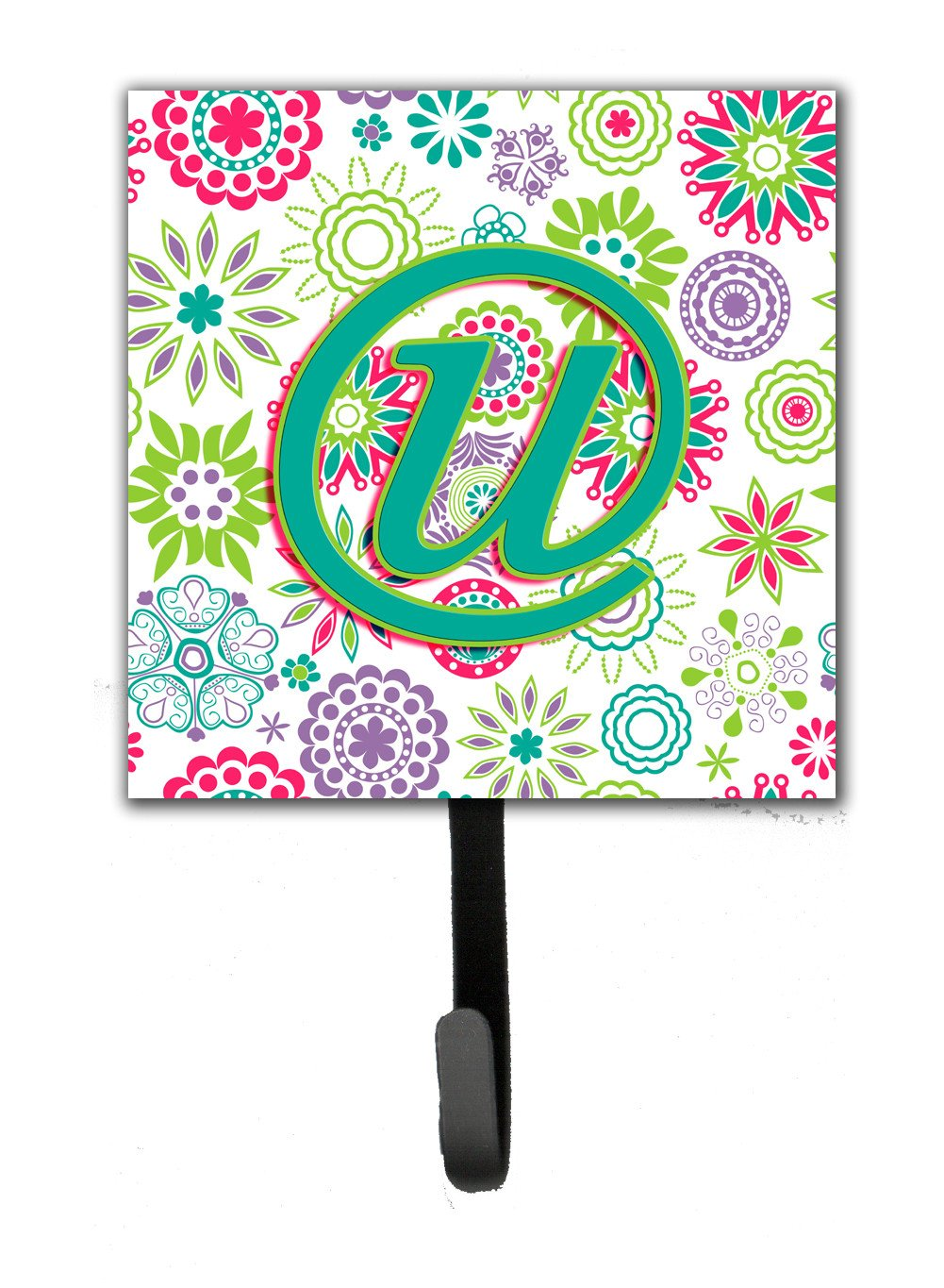 Letter U Flowers Pink Teal Green Initial Leash or Key Holder CJ2011-USH4 by Caroline's Treasures