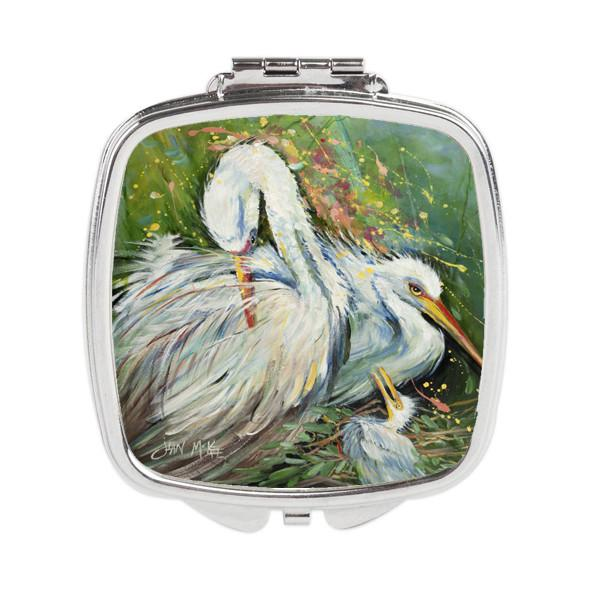 Buy this White Egret in the rain Compact Mirror JMK1210SCM