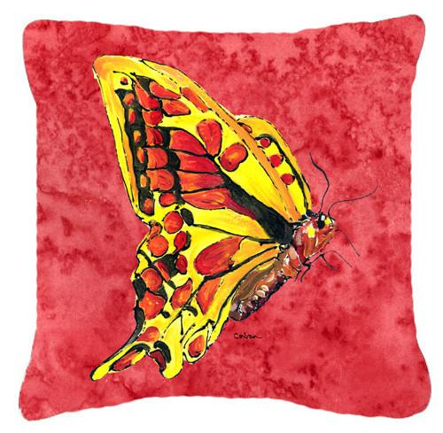 Butterfly on Red   Canvas Fabric Decorative Pillow - the-store.com