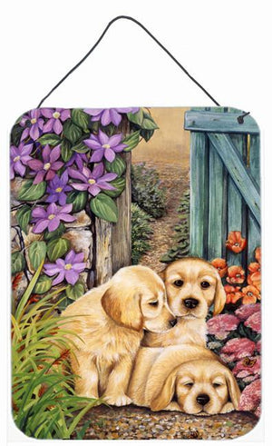 Buy this Yellow Labrador Puppies by Lesley Hallas Wall or Door Hanging Prints HLH0418DS1216