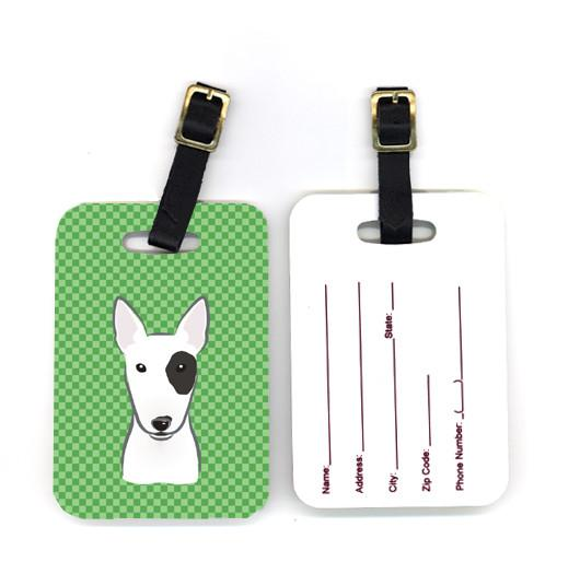 Buy this Pair of Green Checkered Bull Terrier Luggage Tags BB1132BT