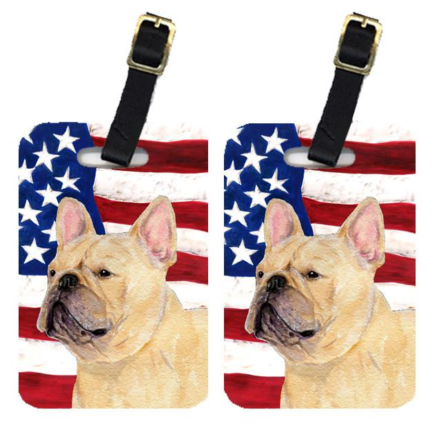 Buy this Pair of USA American Flag with French Bulldog Luggage Tags SS4047BT