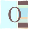 Letter O Initial Monogram - Blue Stripes Decorative   Canvas Fabric Pillow - the-store.com