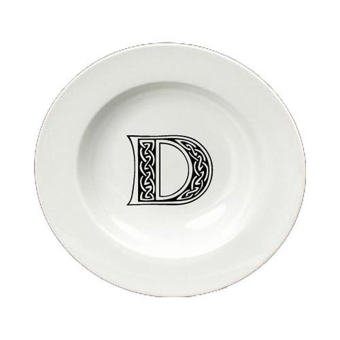 Buy this Letter D Initial Monogram Celtic Round Ceramic White Soup Bowl CJ1059-D-SBW-825