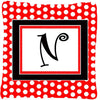 Letter N Initial Monogram Red Black Polka Dots Decorative Canvas Fabric Pillow - the-store.com