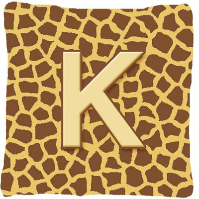 Buy this Monogram Initial K Giraffe Decorative   Canvas Fabric Pillow CJ1025