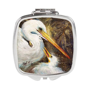 Buy this White Egret feeding baby Compact Mirror JMK1211SCM