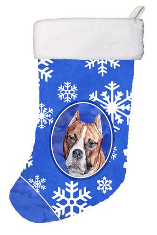 Buy this Staffordshire Bull Terrier Staffie Winter Snowflakes Christmas Stocking SC9776-CS
