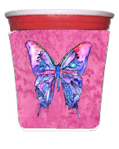 Buy this Butterfly on Pink Red Solo Cup Beverage Insulator Hugger