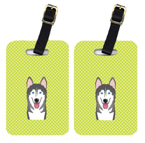 Buy this Pair of Checkerboard Lime Green Alaskan Malamute Luggage Tags BB1280BT