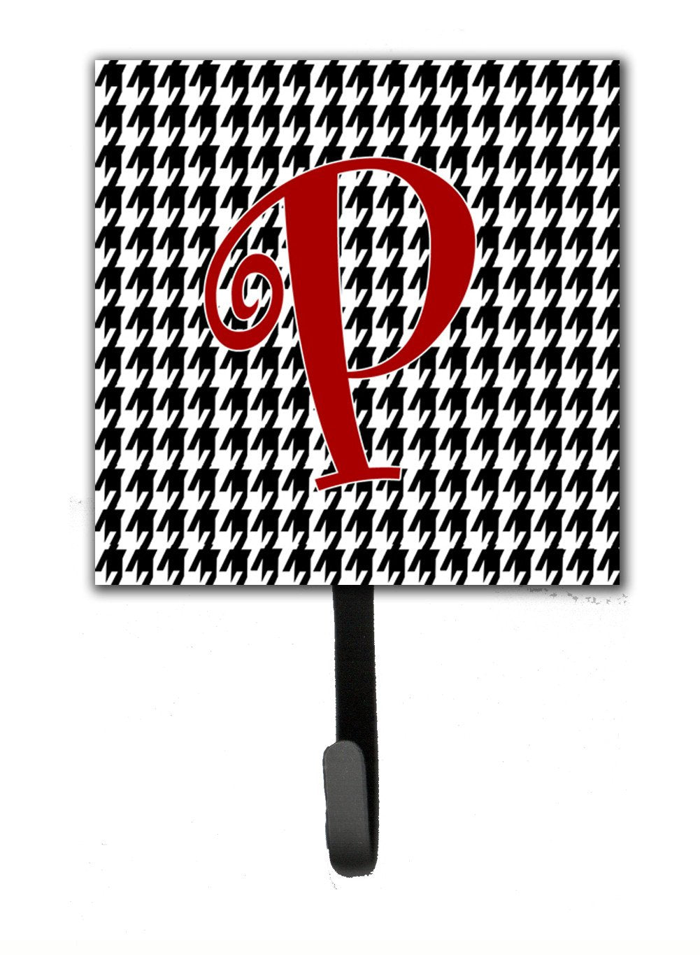 Buy this Letter P Initial Monogram - Houndstooth Black Leash Holder or Key Hook
