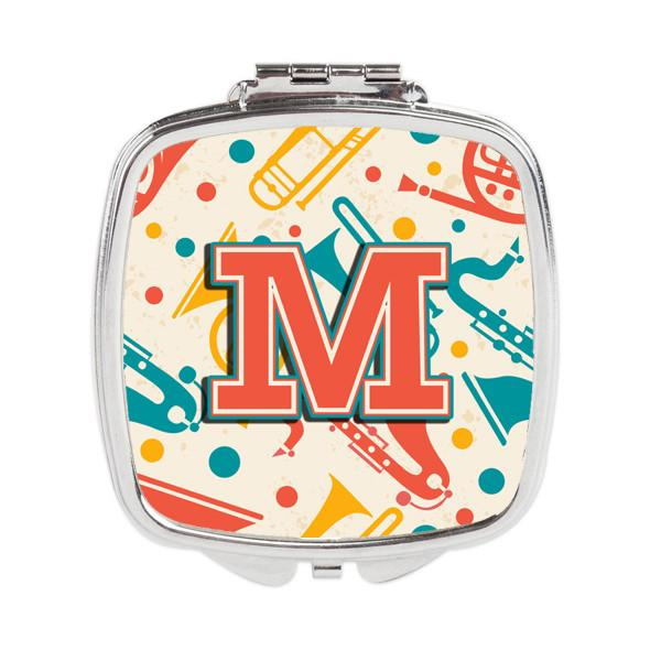Letter M Retro Teal Orange Musical Instruments Initial Compact Mirror CJ2001-MSCM by Caroline's Treasures