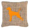 Pointer Burlap and Orange   Canvas Fabric Decorative Pillow BB1105 - the-store.com