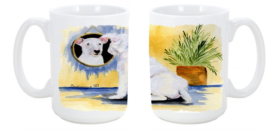 Buy this Bull Terrier Dishwasher Safe Microwavable Ceramic Coffee Mug 15 ounce SS8135CM15