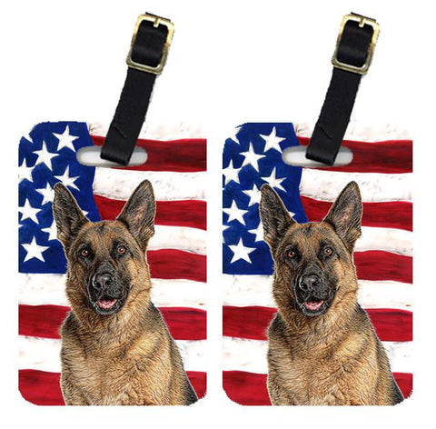 Buy this Pair of USA American Flag with German Shepherd Luggage Tags KJ1159BT