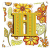 Letter H Floral Mustard and Green Canvas Fabric Decorative Pillow CJ2003-HPW1414 by Caroline's Treasures