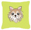 Checkerboard Lime Green Chihuahua Canvas Fabric Decorative Pillow BB1313PW1414 - the-store.com
